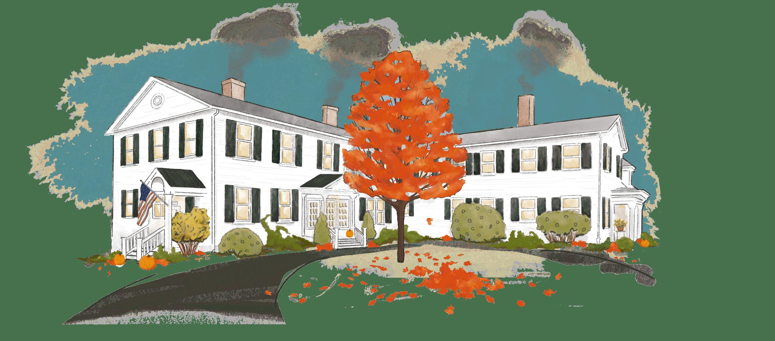 illustration of Swift House Inn main building in the Fall season