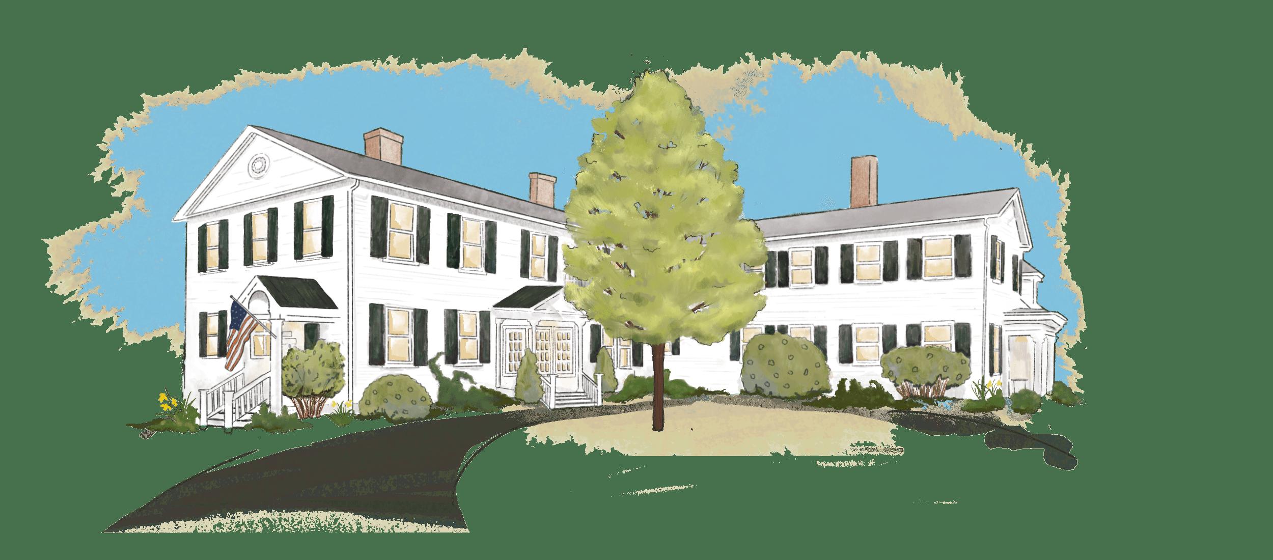 illustration of Swift House Inn main building in the Spring season