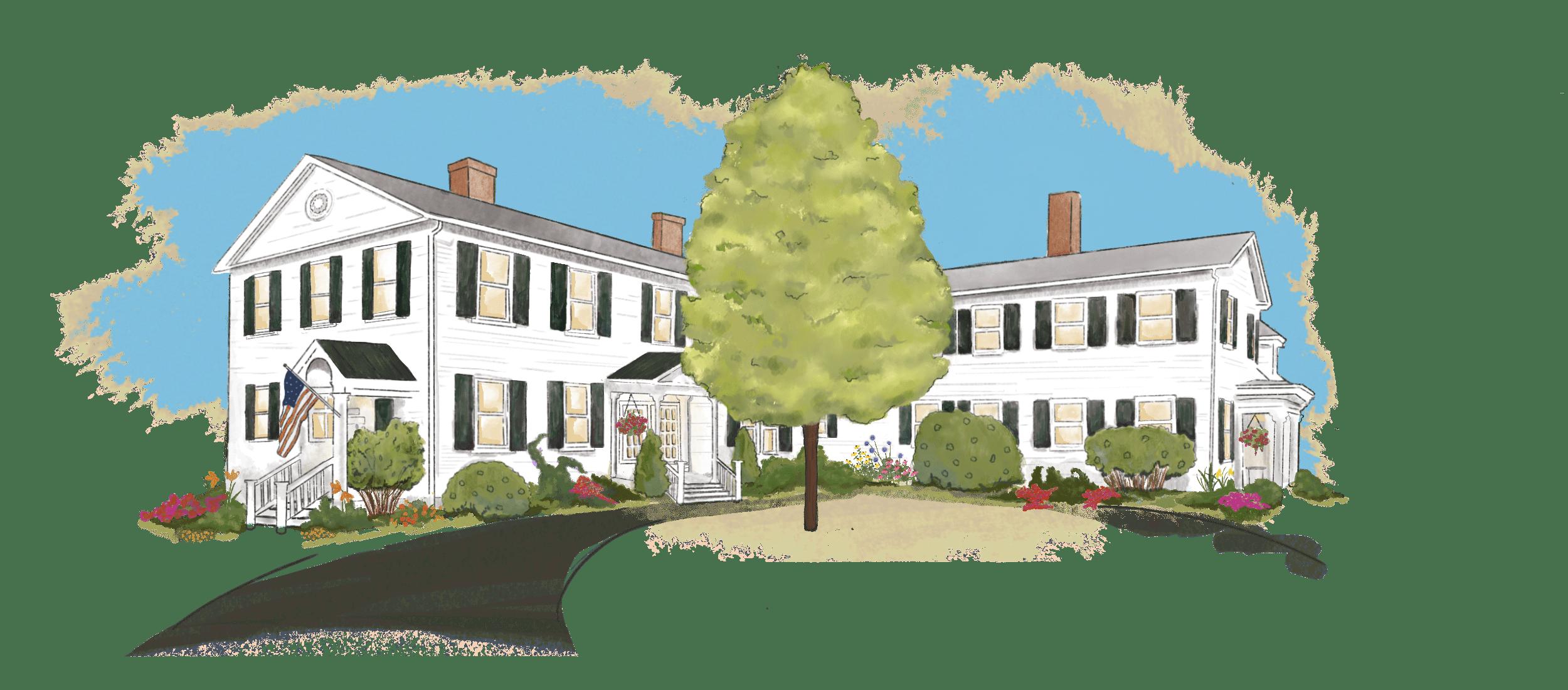 illustration of Swift House Inn main building in the Summer season