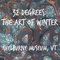 Blue and tan sign with white lettering 32 Degrees: The Art of Winter, streaking wavy paint design