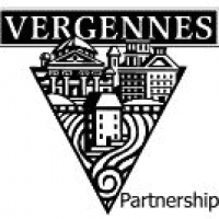 Black and White sign with triangle sketch of buildings (Vergennes Partnership)