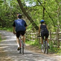 Man and woman with helmets riding bikes on a grey concrete path thrugh wooded area , wood split-rail fence running along the path.