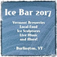 Blue sign with white lettering for Ice Bar 2017 Event Burlington VT