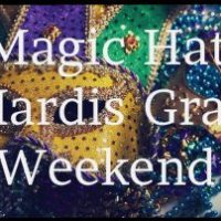 Multi-colored party glittery masks with clear lights, Magic Hat Mardis Gras Weekend.