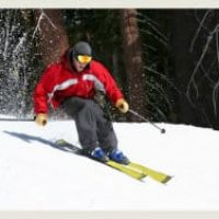 Man snow-skiing wearing a red coat, grey pants and helmet with reflective goggles, tall baren trees and snowy bushes.