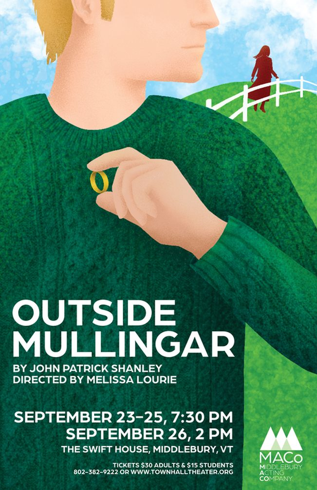 poster image for Outside Mullingar. man in green sweater holds a ring while looking at woman in background